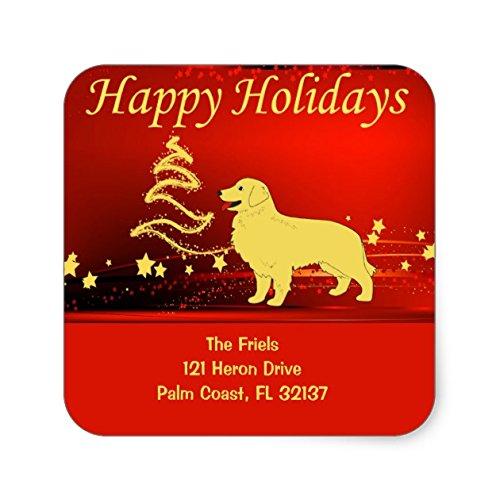 Golden Retriever Happy Holidays Address Sticker - Sticker Graphic - Beware of Dog Lover Sticker Sign for Walls Windows Bumper Sticker Dog Sign Dog Lover Decor