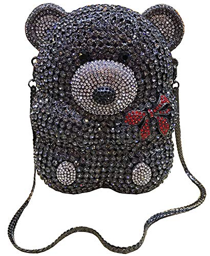 - Lady Dazzle Full Diamond Clutch Cute Bear Evening Bag Bling Rhinestone Chain Bag Animal Purse (Grey)