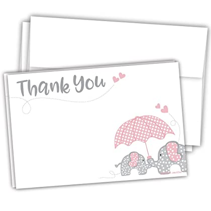 elephant girl baby shower thank you note cards 20 count madison