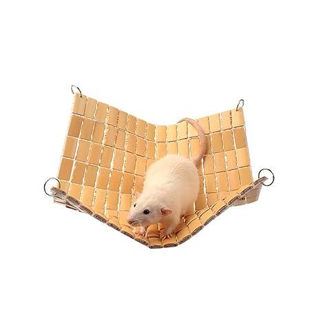 WLcute Pequeñas Mascotas de bambú Trenzado Hamaca Hamaca Nido ...