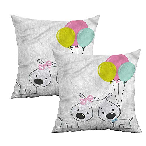 Khaki home Cute Square Pillowcase Protector Girl and
