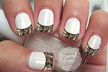 Amazon 20 Nail Art Decals French Tip Camo Beauty