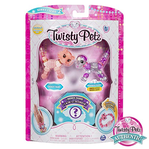 Twisty Petz, Series 2 3-Pack, Tickles Tiger, Pixiedust Puppy and Surprise Collectible Bracelet Set for - Pets Tiger