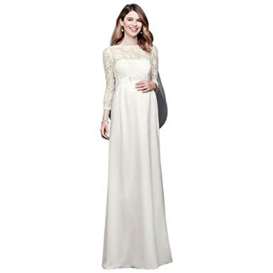 David S Bridal 3 4 Sleeve Crepe Sheath Maternity Wedding Dress Style
