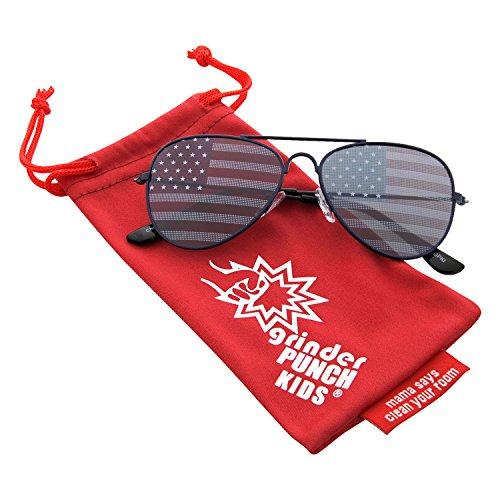 grinderPUNCH KIDS Children's American Flag Aviator Sunglasses - Sunglasses B&q