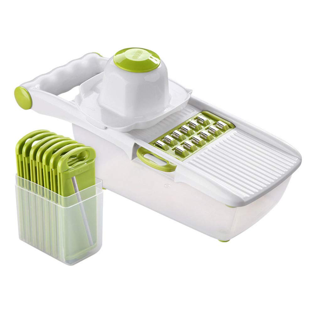 DENGSH Vegetable Slicer, Multi-Function 8 in 1 Cutting Tool, Home Kitchen Supplies, Cutting Device, Safe, not Hurting The Hand Health/White by DENGSH