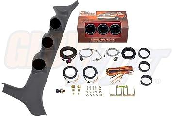 GlowShift Diesel Gauge Package for 1992-1997 Ford F-Series F-250 F-350 Gray Quad Pillar Pod Black 7 Color 60 PSI Boost Transmission Temp /& 100 PSI Fuel Pressure Gauges 1500 F Pyrometer EGT