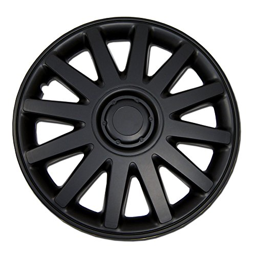 TuningPros WC-17-610-B 17-Inches Pop On Type Improved Hubcaps Wheel Skin Cover Matte Black Set of 4 (Victoria Specs Ford Crown)