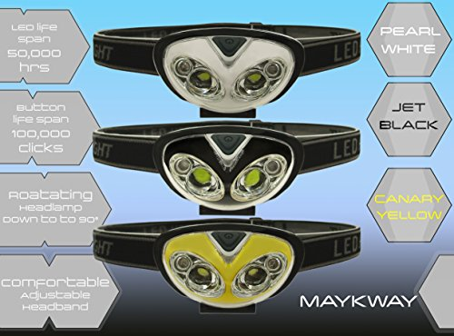 Maykway-High Intensity LED Headlamp for Camping, Hunting, Hiking, Power Outtages, Hands-Free Light, Battery Powered Light, In Sporty Black, Yellow, or White Colors