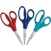 Fiskars 194580-1037 Back to School Supplies, Student Kids Scissors, 7 Inch, 3 Pack, Assorted Colors