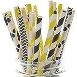 Bumblebee Paper Straws, Black & Yellow Drinking Straws (25 Pack) - Summer Honey Bee Party Supplies - Stripe, Polka Dot, Chevron Straws