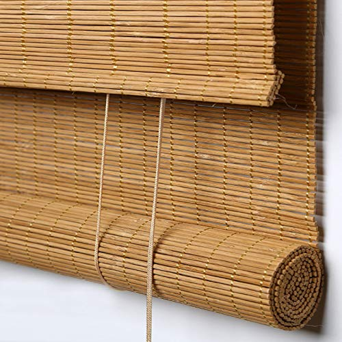 "PASSENGER PIGEON Bamboo Roller Shades, Light Filtering Roll Up Blinds with Valance, 70"" W x 60"" L, Camel"