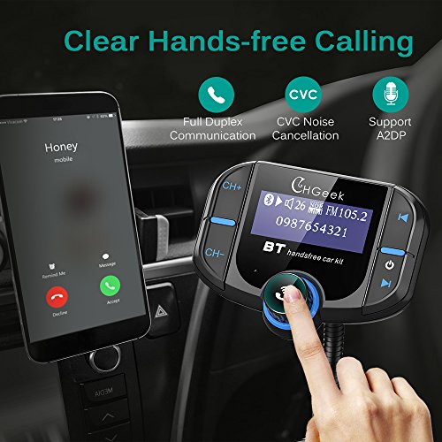 Bluetooth FM Transmitter for Car with Quick Charge 3.0 Car Charger Wireless Radio Audio Adapter Handsfree Calling Car Kit Input 1.7 inch Display by CHGeek (Image #4)
