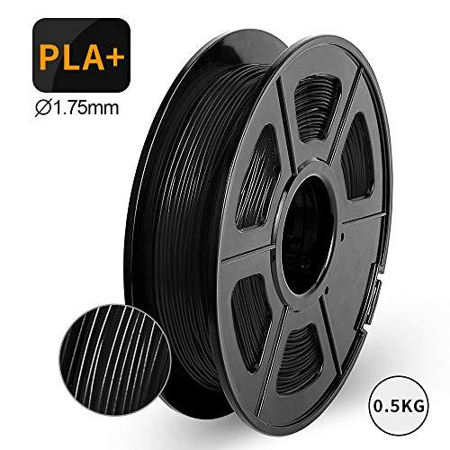 3D Printer Filament PLA+, 1.75mm PLA+ Filament 0.5kg Spool, Dimensional Accuracy +/- 0.02mm, Enotepad PLA Filament for Most 3D Printer, Black