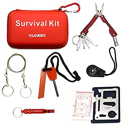 Kungix Outdoor Emergency Survival Gear Kit with Waterproof Bag, 6-Piece One Pack