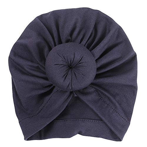 Sunbona Newborn Hat,Toddler Baby Cotton Turban Knotted Hat India Hat Soft Cap for New Mother (Navy) ()