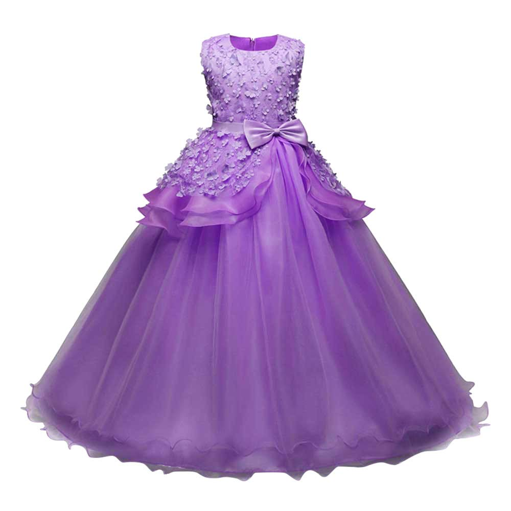 Wenini Floral Girls Princess Dresses Kids SleevelessB ridesmaid Pageant Gown Birthday Party Wedding Dress by Wenini