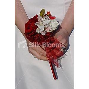 Silk Flower Arrangements Burgundy Red & Ivory Rose Alstroemeria Wedding Flowergirls Wand