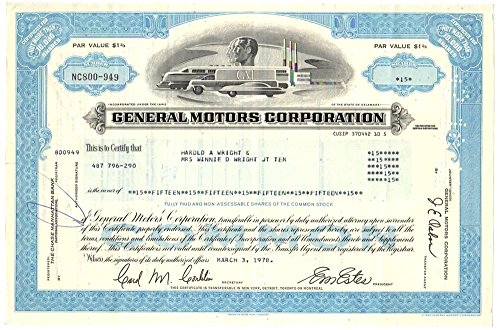 - 1970 RARE ORIGINAL GM (GENERAL MOTORS) STOCK CERTIFICATE w FUTURISTIC VIGNETTE (BLUE) BUY 2 TO ALSO RECEIVE GREEN TYPE Not More than 10,000 Shares Extra Fine