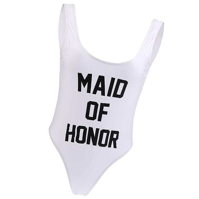 e677425913f89 Dovewill Funny MAID OF HONOR Printed Women One-Piece Swimsuit Swimwear  Bathingsuit Bikini Monokini -