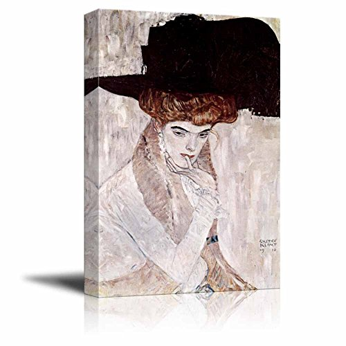 The Black Feather Hat by Gustav Klimt Print Famous Oil Painting Reproduction