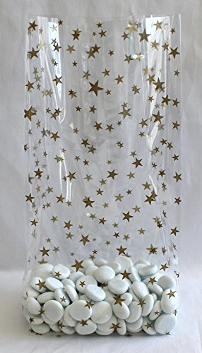 Gold Stars Cello Party Favor Treat Bags 5'' x 3'' x 11 1/2'' Pack of 25 by Magical Times 808