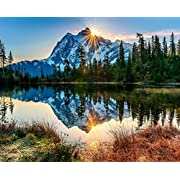 TOCARE Acrylic Paint by Number Kits for Adults Canvas Romantic Countryside Scenes Painting for Home Wall Decor,16x20inch Silent Mountain Lake Pattern