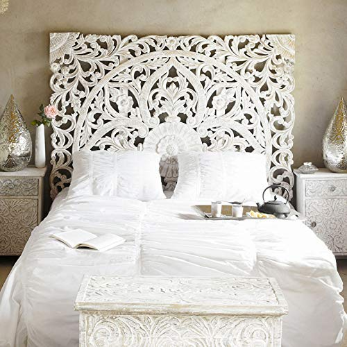 Balinese Hand Carved King Size Bed Headboard Reclaimed Wooden Panels Artwork Handmade Painted In Chiang Mai Thailand 72x72 Inches