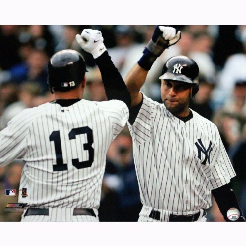 Derek Jeter Congratulating Alex Rodriguez After Home Run 16 Inch X 20 Inch Photo