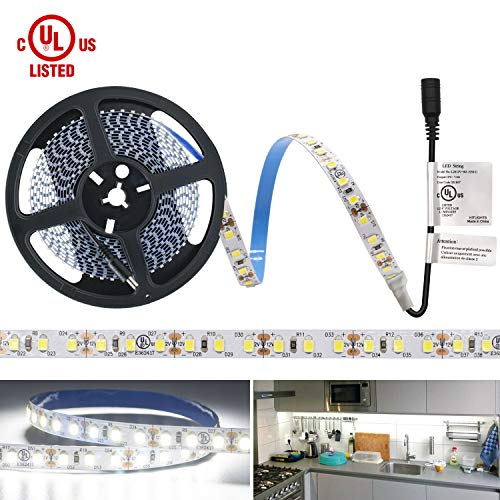 Lights, UL-LISTED Cool White LED Light Strip 600LED 5000K 164Lumens 2.7Watt per Ft. 12V LED Tape Lights for Kitchen, Under Cabinet (Under Cabinet Electronic)