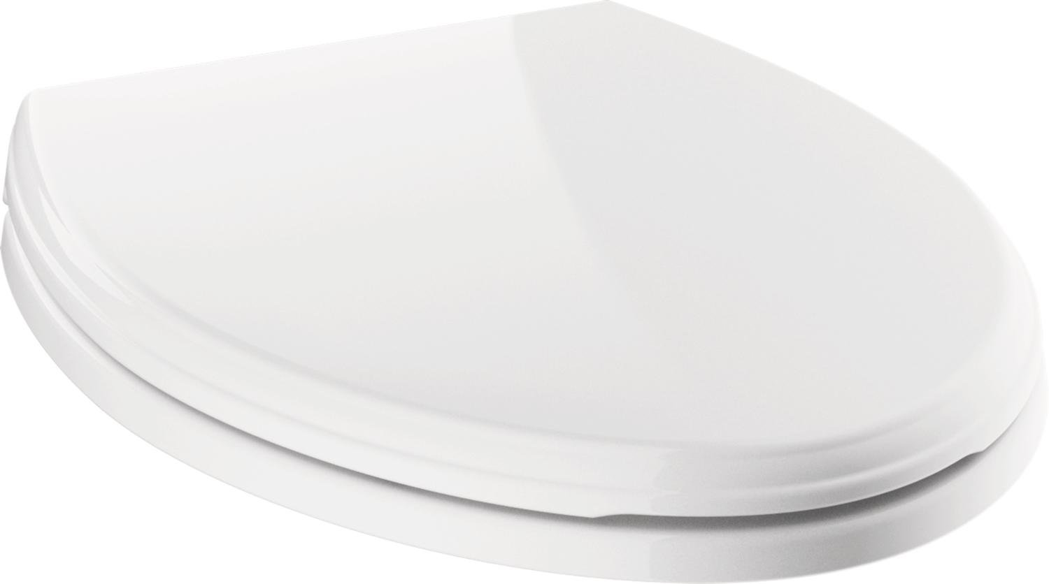 Delta Faucet 811901-WH Wycliffe Elongated Slow-Close Toilet Seat with Non-slip Seat Bumpers White