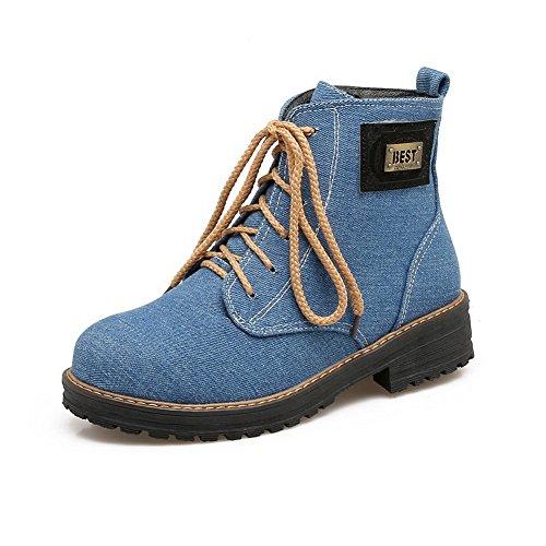 BalaMasa Womens Casual Retro Slip-Resistant Suede Boots ABL10206 Blue