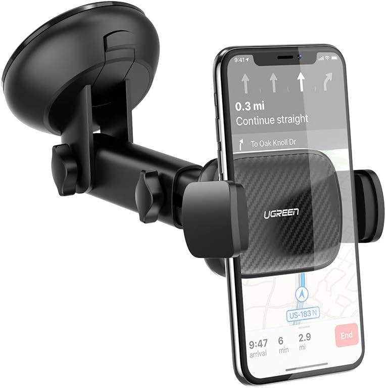 يوجرين-حامل الهاتف في السيارة على لوحة القيادة وحامل الزجاج الأمامي للهاتف الذكي مع شفط قوي متوافق مع iPhone 11 Pro Max Xs Max X XR 8 Plus 7 6 6S و Galaxy S10 + S9 S8 Note 9 8 و G8X G7 V50 والمزيد
