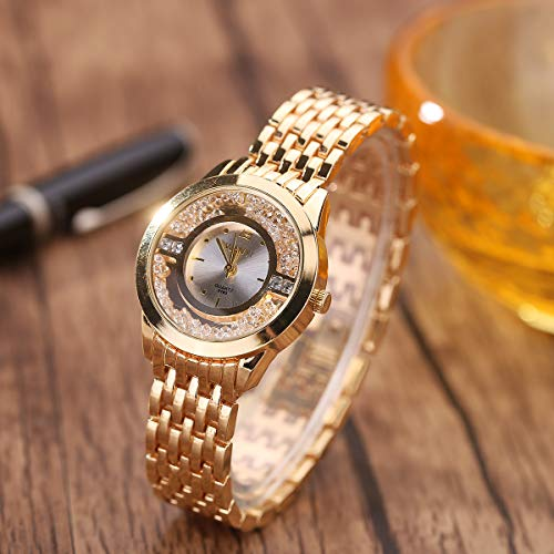 Price comparison product image Blue Stones Gold Color Watches Women Alloy Band Drift Sand Decoration Clock Top Brand Luxury Wristwatches