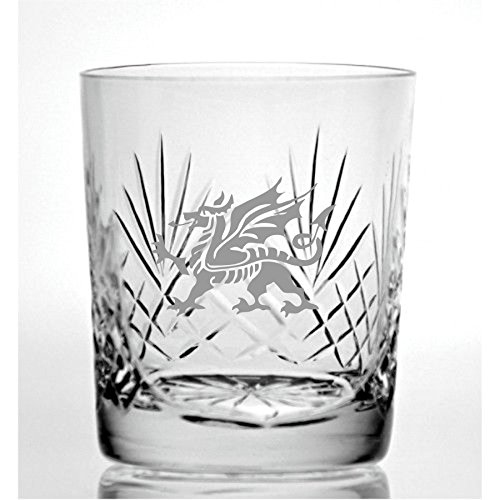 (Cut Crystal 9oz Whisky Glass With Welsh Dragon Design)