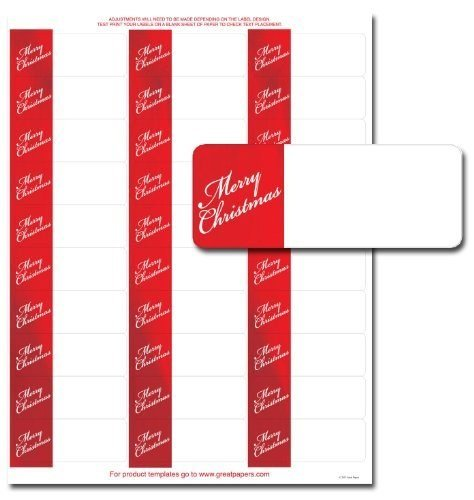 Merry Christmas Red Foil Address Labels - 120 Pack