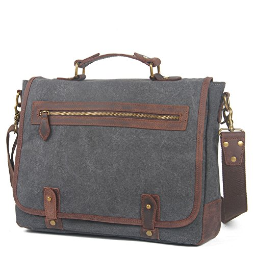 Small Men's Grey Shoulder Canvas Bag Everdoss Crossbody green Vintage Briefcase Everyday HPqn5xxd4R