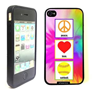 iPhone 4 4S Case ThinShell TPU Case Protective iPhone 4 4S Case Shawnex Love Peace Softball