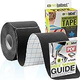 Black Pre Cut Kinesiology Tape - Pre-Cut Muscle Tape Sports Tape Strapping Kinesio Tape | Pro Tape...
