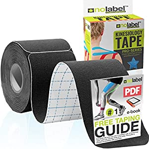NO LABEL Pre Cut Kinesiology Tape - Pre-Cut Sport Tape Strapping Muscle Tape Sports Tape | Pro 5m Medical Roll H20 20 x… 12
