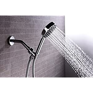 """100% Solid Metal Hand Held Shower Head Set with 2.5 GPM High Pressure Spray Wand, 72"""" Long Stainless Steel Hose & Brass Holder Bracket for Hotel Quality, Polished Chrome"""