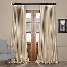 Half Price Drapes Ptch-BO130907-108-DW Blackout Extra Wide Faux Silk Taffeta Curtain, 100 X 108, Glazed Parchment
