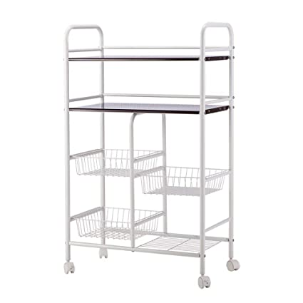 Amazon Com Rolling Kitchen Cabinet Trolley Cart Island