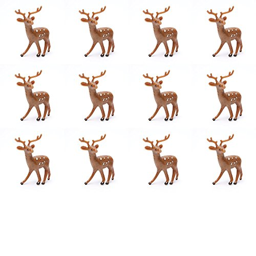 Factory Direct Craft Group of 12 Plastic Standing Brown Deer for Christmas Villages and Everyday Crafting (2 1/2 (12 Day Christmas Ornaments)