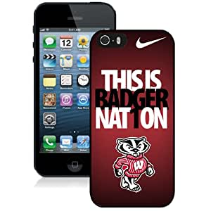 Beautiful Designed With Ncaa Big Ten Conference Football Wisconsin Badgers 9 Protective Cell Phone Hardshell Cover Case For iPhone 5S Phone Case Black