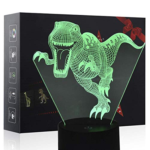 3D Night Light, LED Lamp for Kids, Dinosaur Toys for Boys, 7 Colors Touch Table Desk Lighting, T-Rex Illusion Neon with USB, Baby Bedroom Sleep Lights, Cool Animal Holiday Gifts for Children