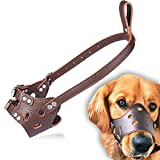 onlyupet Dog Muzzle Anti Bite Mouth Guard Covers Anti-Called Pet Bite-Proof Mask (M, Brown)