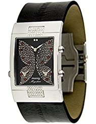 Moog Paris - Papillon - Women's Watch with black dial, black strap in Genuine calf leather, made in France - M44404...
