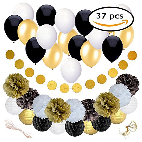 Black and Gold Party Decorations for Birthday or Wedding Anniversary – 37 Pack – Make Him an Unforgettable Going Away Event with Honeycomb Supplies - Great for 25th 30th 40th 50th or 60th Celebration (Decorations For Wedding Anniversary Party)