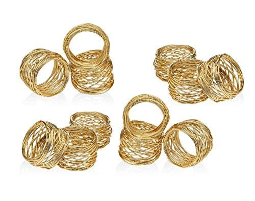 ARN Craft Golden Round Mesh Napkin Rings- Set of 12 for Weddings Dinner Parties or Every Day Use (CW- 06-12) ()